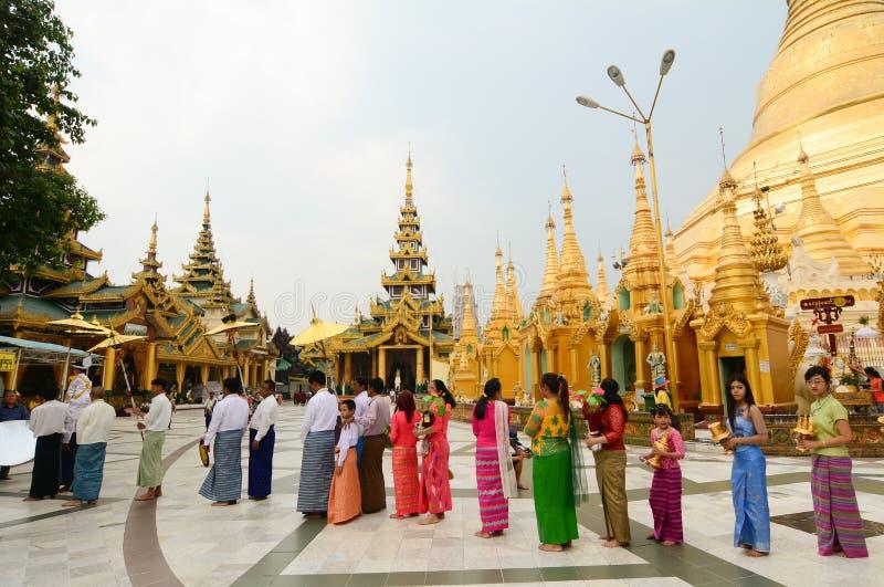 Pagode de Shwedagon Paya em Yangon, Myanmar imagem de stock royalty free