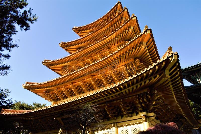 Pagode dourado do movimento religioso de Jeung San Do em Cheongju, Coreia fotografia de stock royalty free