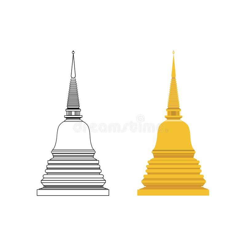 Pagode dourado e para esboçar o vetor liso com fundo branco isolado Constru??o budista ilustração royalty free