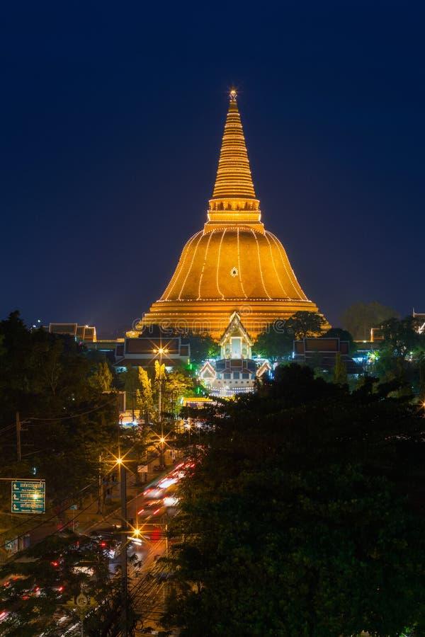 Pagode dourado Phra Pathom Chedi da província Ásia T de Nakhon Pathom imagens de stock