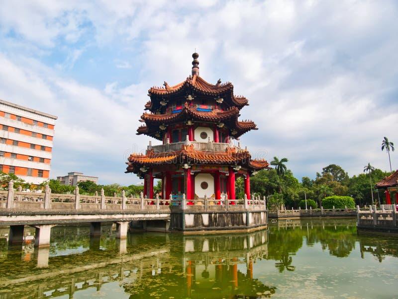 Pagode e ponte do estilo chinês foto de stock royalty free