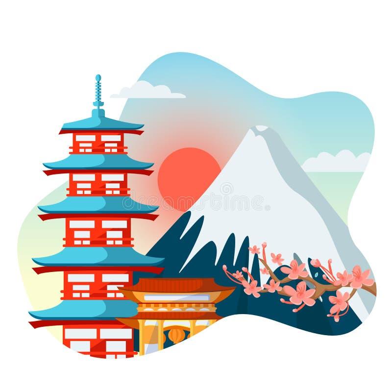 Pagode japonês, flores de sakura no fundo da montanha de Fuji O curso a Japão isolou a ilustração dos desenhos animados do vetor ilustração do vetor