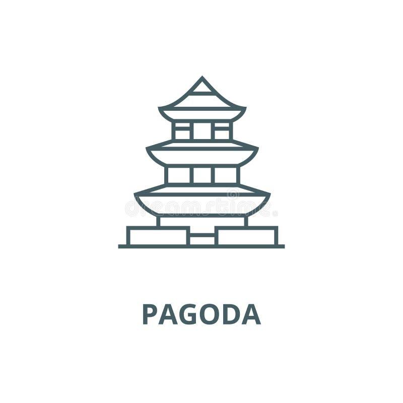 Pagode, linha ícone do vetor de japão, conceito linear, sinal do esboço, símbolo ilustração stock