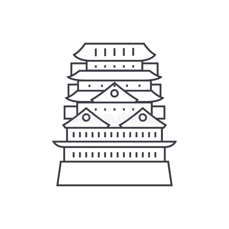 Pagode, linha asiática ícone do vetor do templo, sinal, ilustração no fundo, cursos editáveis ilustração stock