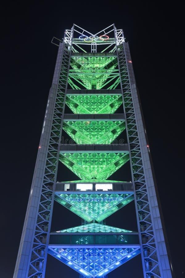 Pagode na noite, parque olímpico de Ling Long, Pequim, China fotos de stock royalty free
