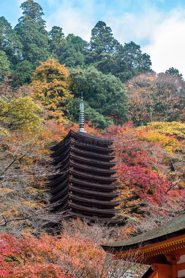 Pagode no santuário no outono, Nara Prefecture de Tanzan, Japão foto de stock