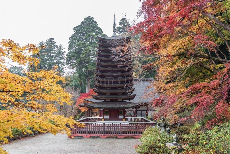 Pagode no santuário no outono, Nara Prefecture de Tanzan, Japão fotografia de stock