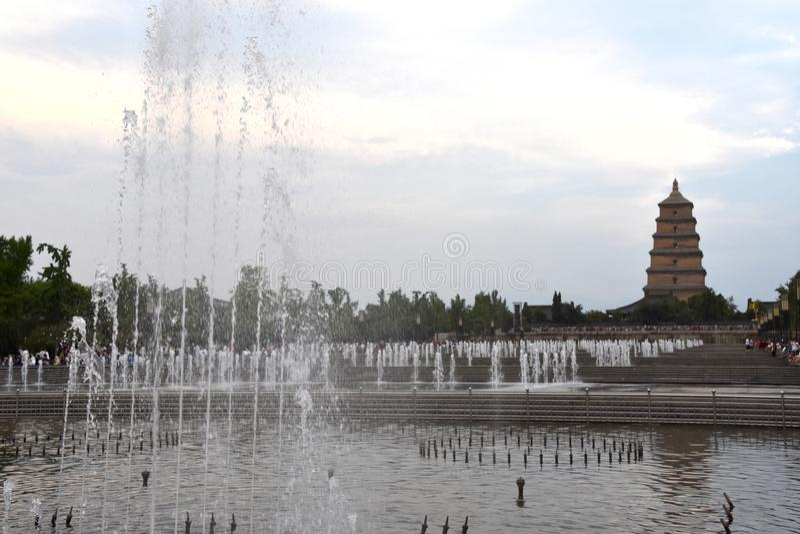 Pagode selvagem gigante de Dayan do pagode do ganso, Xian, China imagem de stock