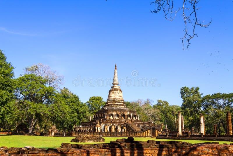 Pagode velho do templo de Wat Chang Lom fotografia de stock royalty free