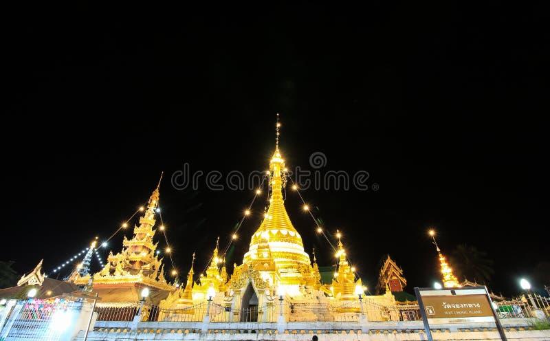 Pagode von Chong Kham Temple, Mae Hong Son stockbilder