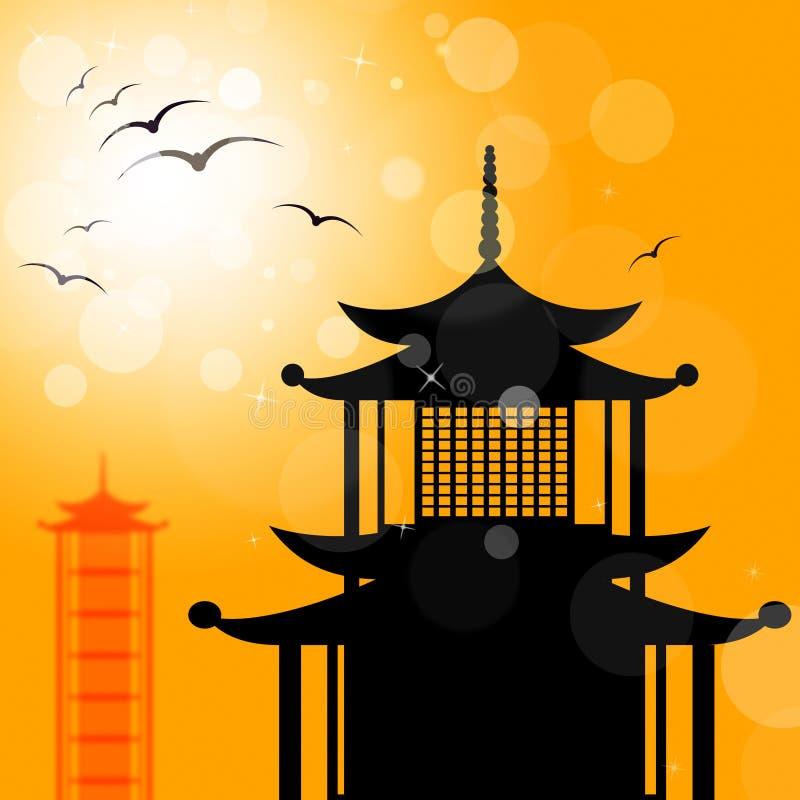 Pagodowa sylwetka Wskazuje religię Azja I orientał royalty ilustracja