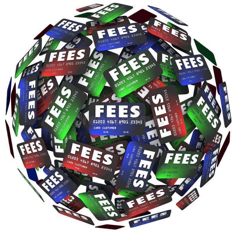 Pagos de dinero del préstamo del préstamo de las cargas ocultas de las tarjetas de crédito de las tarifas stock de ilustración