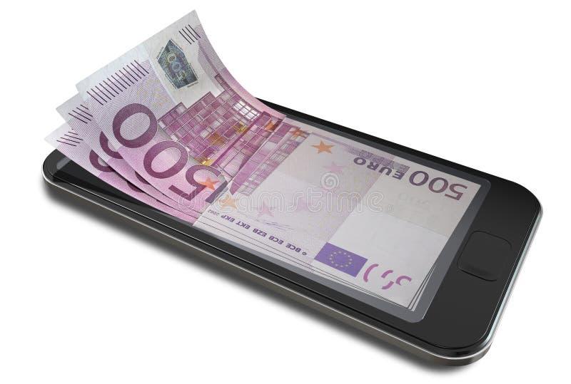 Pagos de Smartphone con euro imagen de archivo libre de regalías