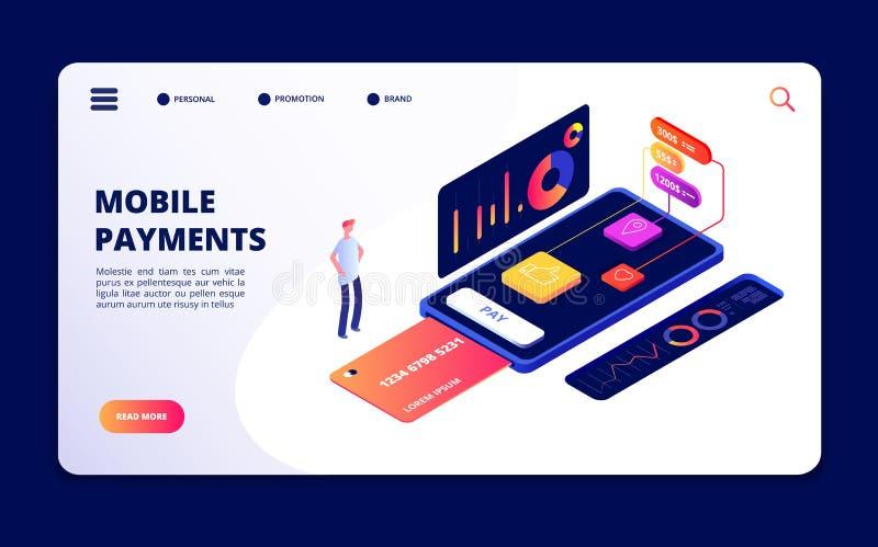 Pagos móviles App de las actividades bancarias de Smartphone, protección de datos y dispositivos de seguridad Concepto del vector libre illustration