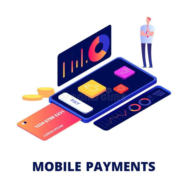 Pagos móviles, compras en línea y actividad bancaria de concepto del vector libre illustration