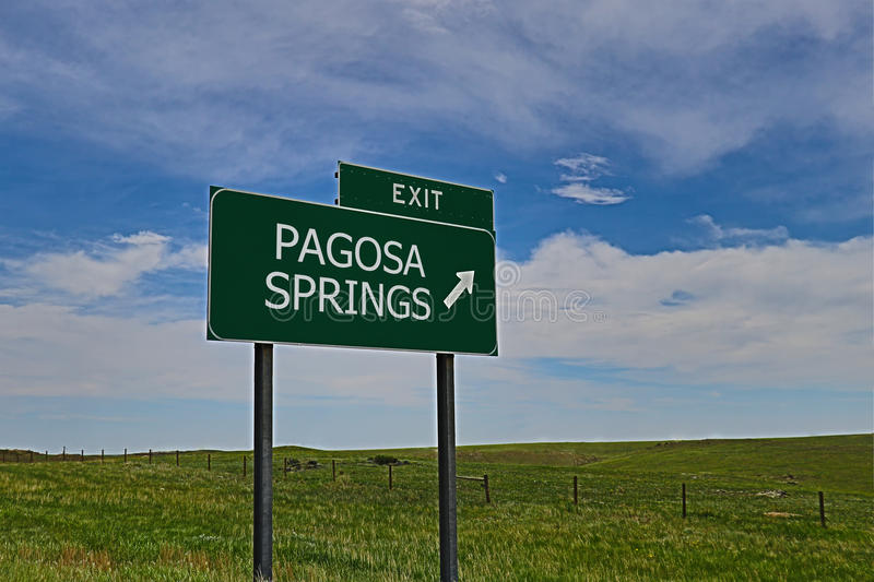 Pagosa Springs. US Highway Exit Sign for Pagosa Springs HDR Image stock image