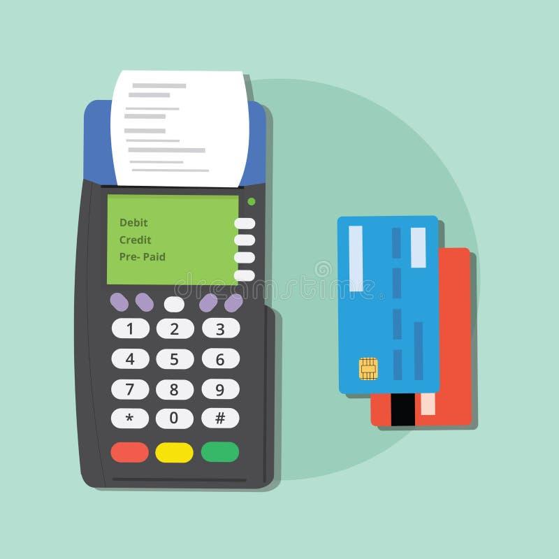 Pague a tarjeta de crédito el comercio electrónico aislado las herramientas mercantil del debe de la máquina stock de ilustración