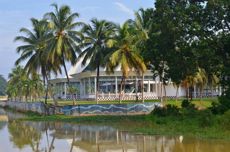 Pahang River bank in Pekan town in Malaysia. Pekan is a hometown for Sultan family stock photos