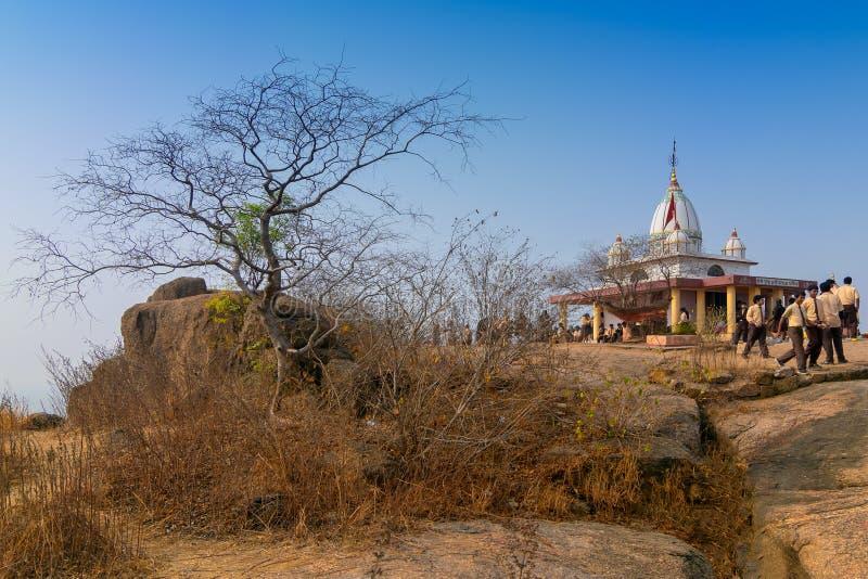 Pahar de tempel van godinjoychandi - Purulia, West-Bengalen, India royalty-vrije stock afbeelding