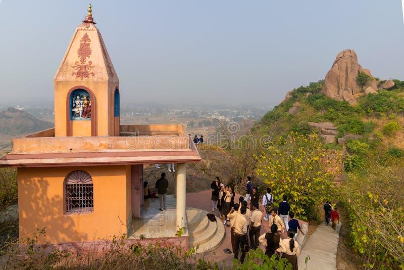 Pahar de tempel van godinjoychandi - Purulia, West-Bengalen, India stock afbeelding