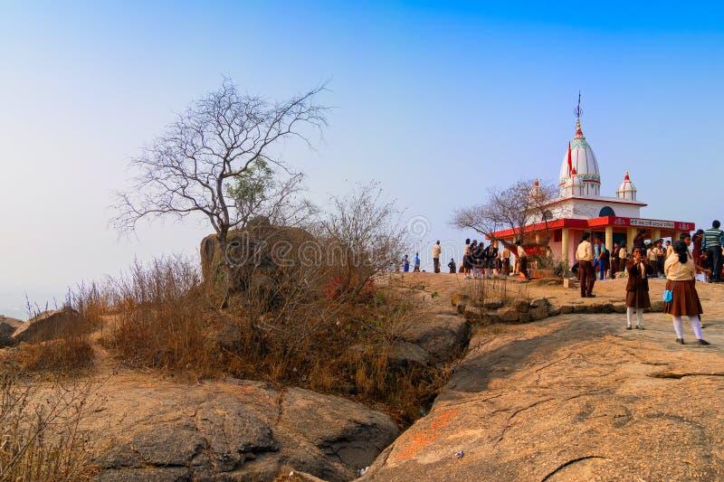 Pahar de tempel van godinjoychandi - Purulia, West-Bengalen, India stock foto's