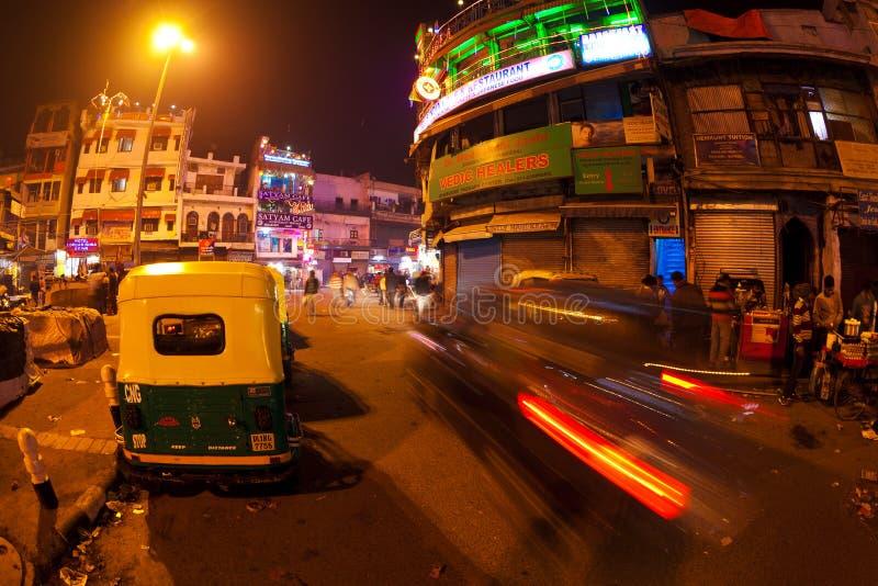 Paharganj en la noche foto de archivo