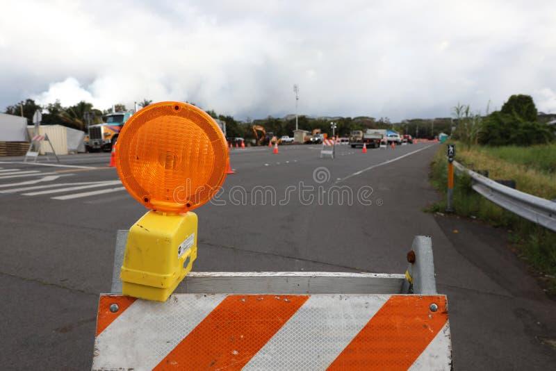 Pahoa, Hawaï, Etats-Unis, le 5 juin 2018 : En raison d'une éruption volcanique du volcan Kilauea a fermé la route dans Pahoa photos stock