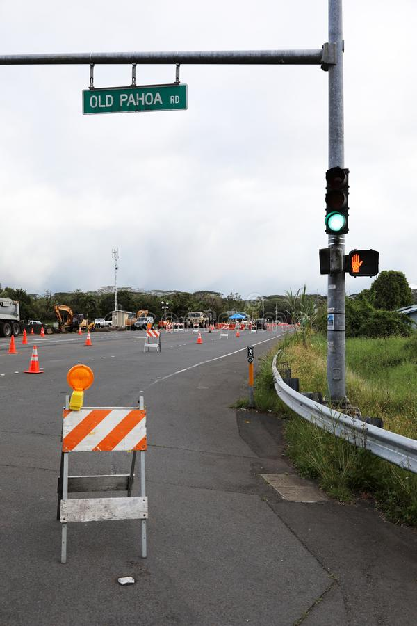 Pahoa, Hawaii, United States, June 5 2018: Because of a volcanic eruption of the volcano Kilauea closed road in Pahoa. The police check all vehicles for their stock photography