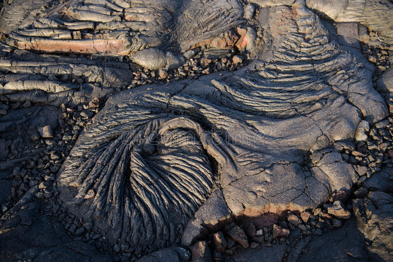 Pahoehoe Lava. Pahoehoe, the smooth and viscuous kind of lava in Volcanoes National Park on Hawaii& x27;s Big Island royalty free stock photography