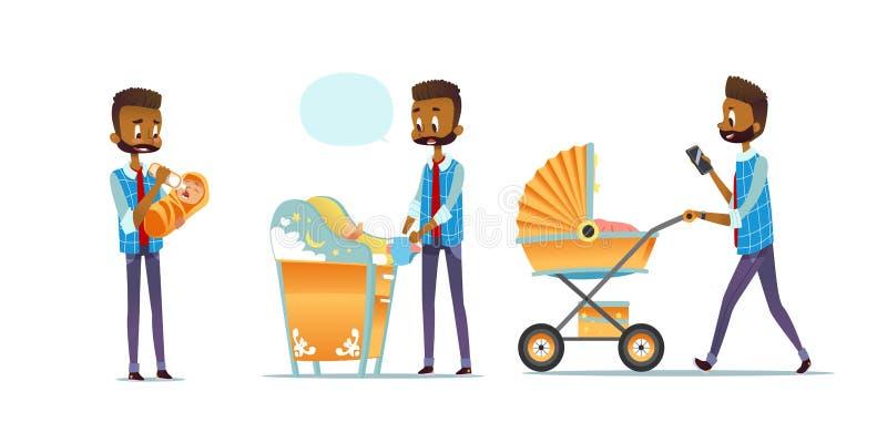 Pai afro-americano que toma da criança isolado no fundo branco Grupo de bebê de alimentação do homem, tecido em mudança ilustração royalty free