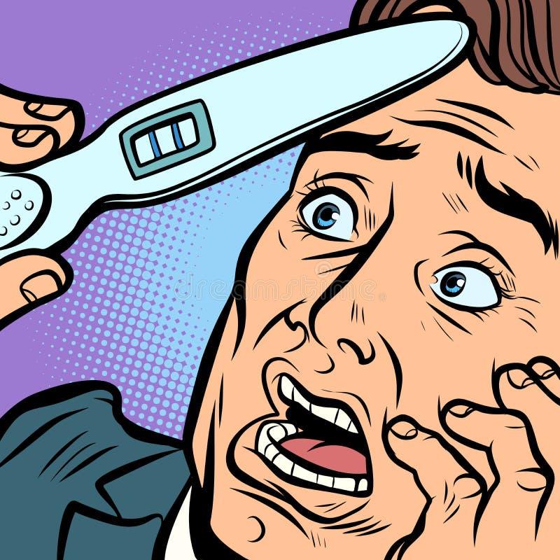 Pai assustado do marido do homem do teste de gravidez ilustração royalty free