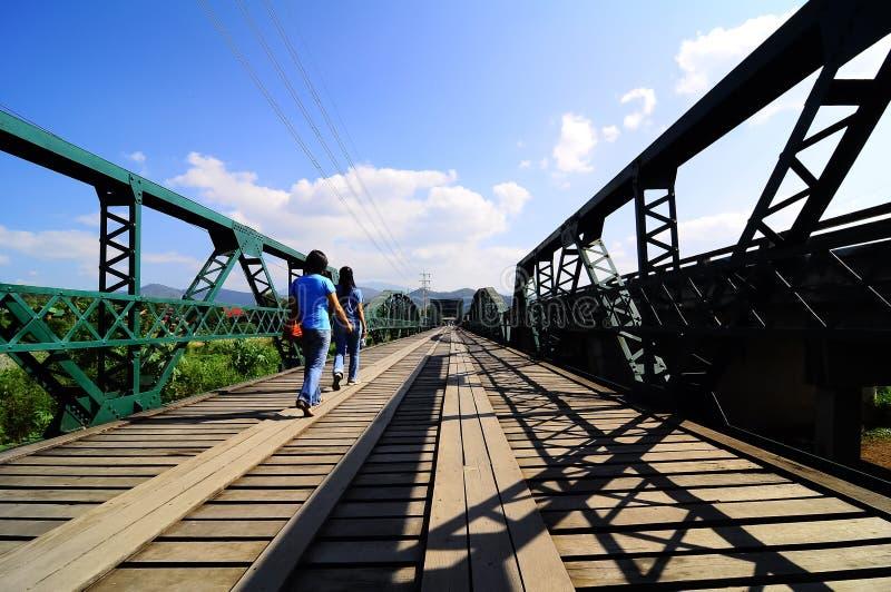 Pai Bridge. November 6, 2009 The womans walking on Pai Bridge at Maehongsorn Province, Thailand royalty free stock images