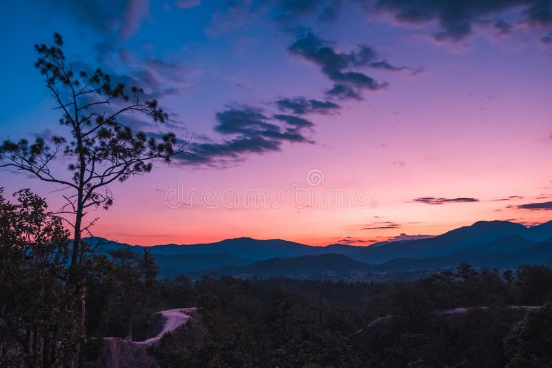 Pai Canyon, Mae Hong Son, Thailand. Sunset scene at Pai Canyon, Mae Hong Son, Thailand. The best sunset place in the city stock photos