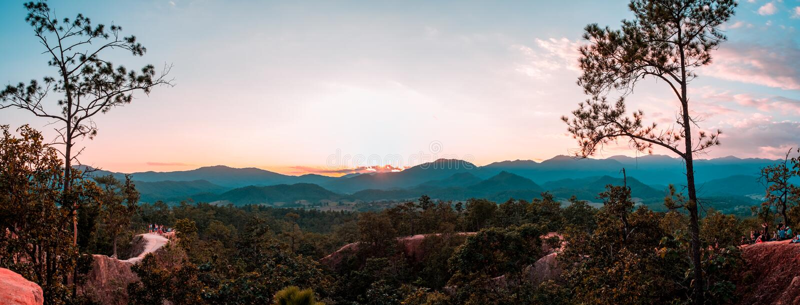 Pai Canyon, Mae Hong Son, Thailand. Sunset scene at Pai Canyon, Mae Hong Son, Thailand. The best sunset place in the city stock image