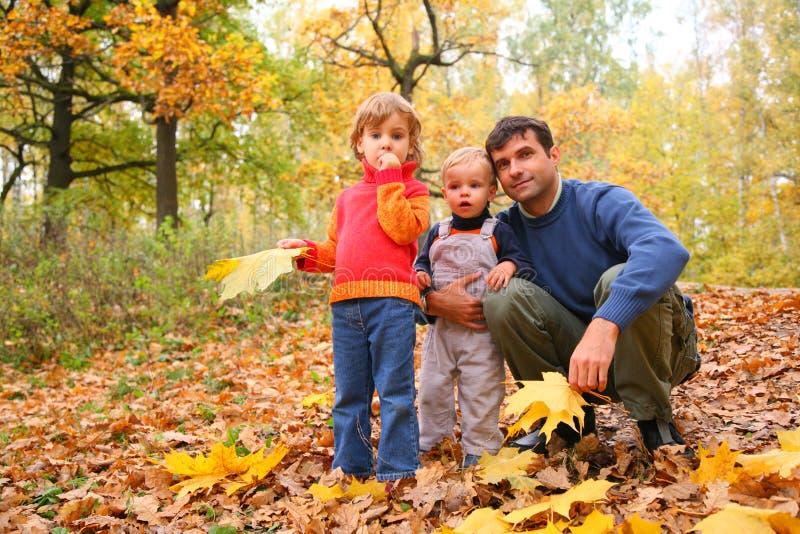 Pai com as crianças na madeira do outono imagens de stock royalty free