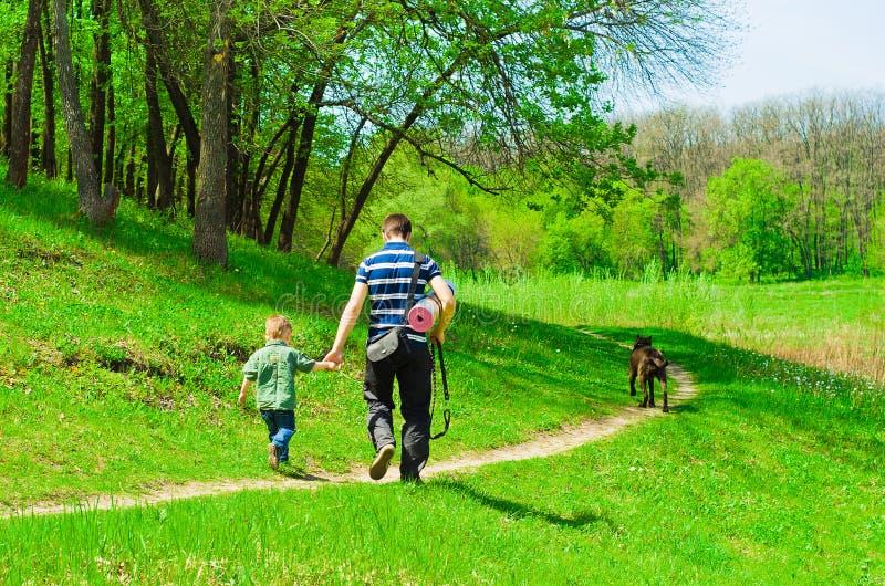Pai com seu filho para uma caminhada imagem de stock