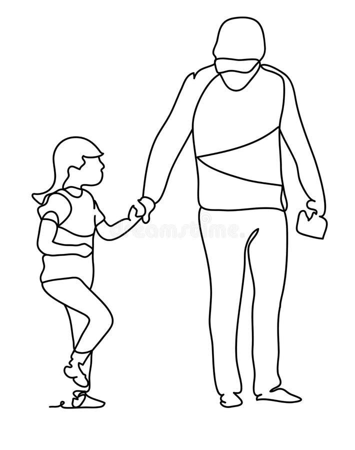 Pai com sua filha Dia feliz do ` s da família e do pai A lápis desenho contínuo r ilustração do vetor