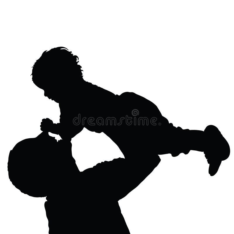 Pai com vetor preto feliz da filha ilustração do vetor
