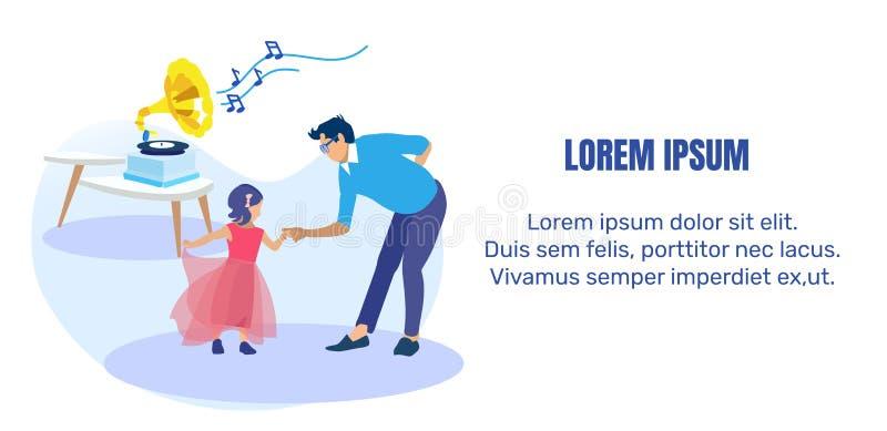 Pai Dançando com Pequena Faixa de Texto Filha ilustração stock