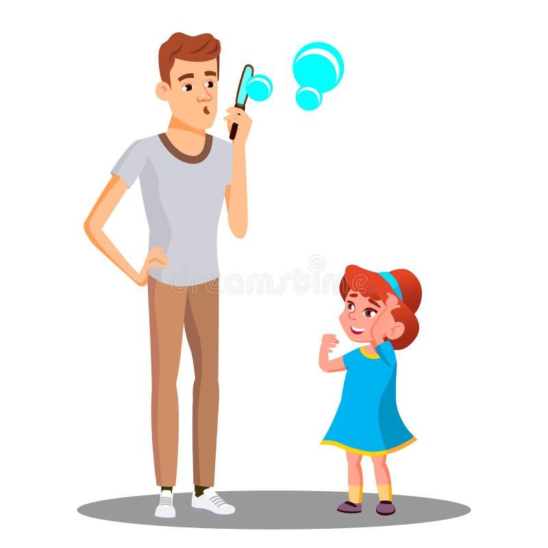 Pai With Daughter Blow que as bolhas de sabão Vector Ilustração isolada ilustração stock