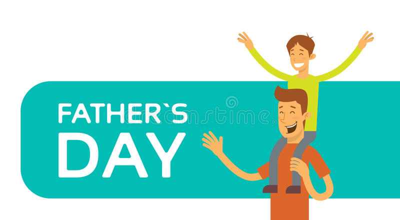 Pai Day Holiday, filho feliz Sit On Dad Shoulder ilustração royalty free