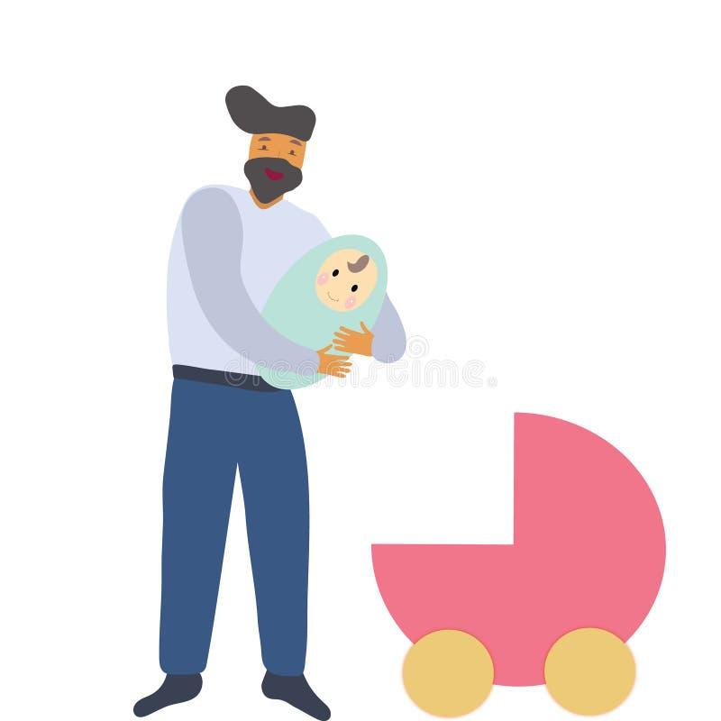 Pai do homem com recém-nascido e o pram ilustração stock