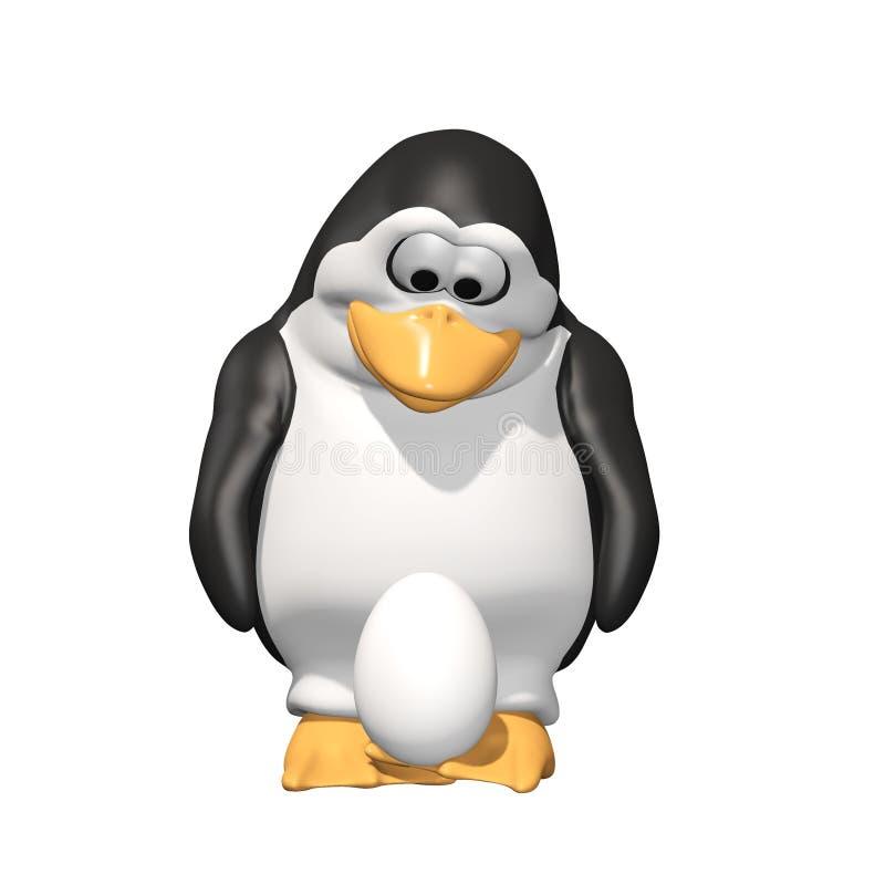 Pai do pinguim com ovo ilustração stock