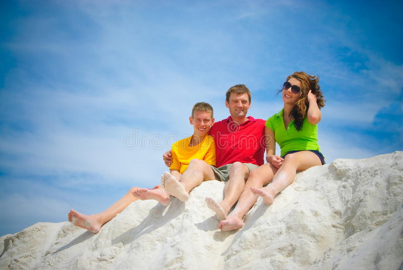 Pai e adolescentes fotografia de stock royalty free