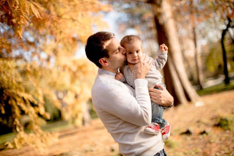 Pai e bebê novos no parque do outono foto de stock