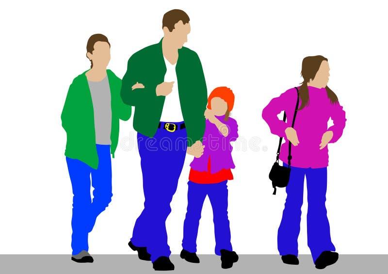 Pai e crianças ilustração royalty free