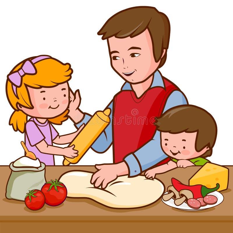 Pai e crianças que cozinham a pizza na cozinha ilustração stock