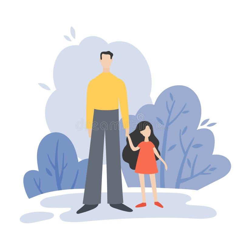 Pai e doughter que andam no parque do verão fora, lazer da família ilustração royalty free