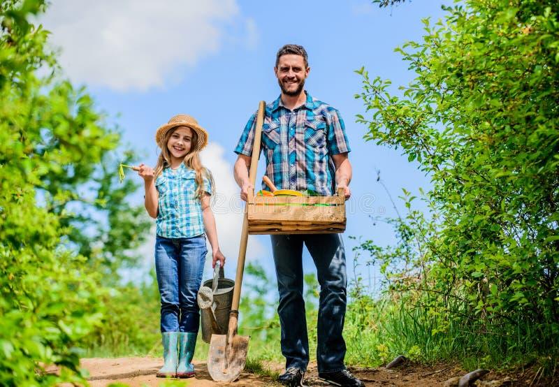Pai e filha com pá e a lata molhando no jardim ? hora de plantar para preparar camas e cuidado para o gramado Selecione imagem de stock