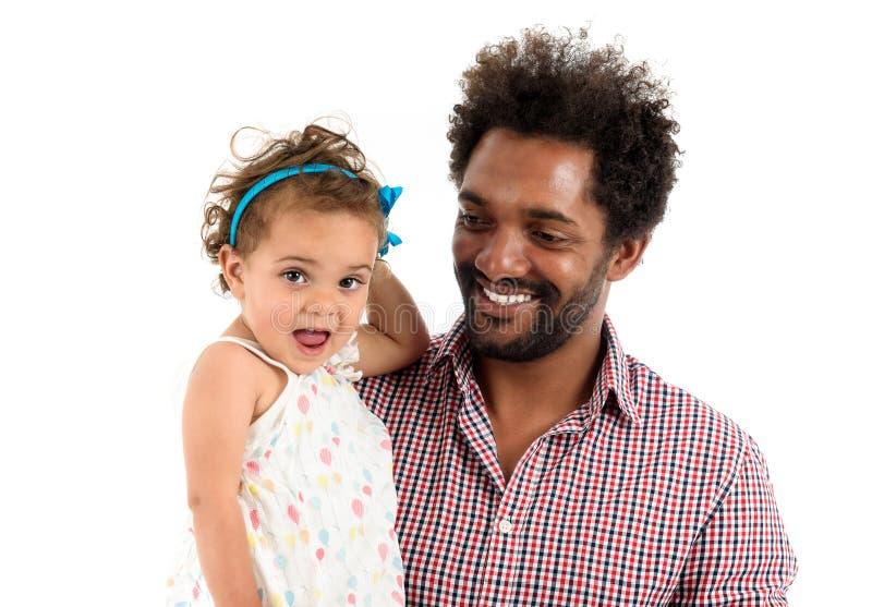Pai e filha isolados junto no fundo branco fotos de stock